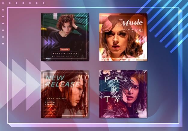 Collection de vecteurs de modèles de bannière de musique