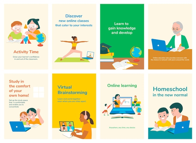 Collection de vecteurs de modèles de diapositives modifiables pour l'éducation