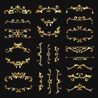 Collection de vecteurs d'ornement en filigrane d'or vintage
