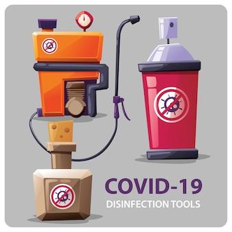 Collection de vecteurs d'outils de désinfection corona