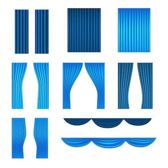Collection de vecteurs de rideaux bleus de différentes étapes