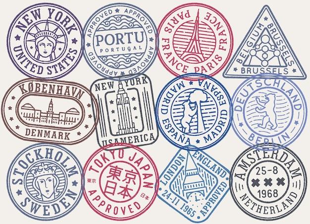 Collection de vecteurs de timbres postaux de couleur rétro