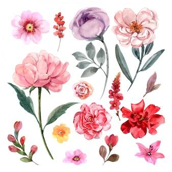 Collection de vector floral dessiné belle main vintage