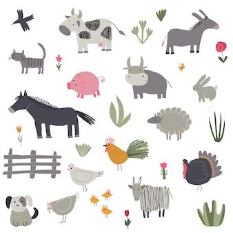 Collection vectorielle d'animaux de ferme mignons dessinés à la main ensemble enfantin pour vêtements textiles en tissu
