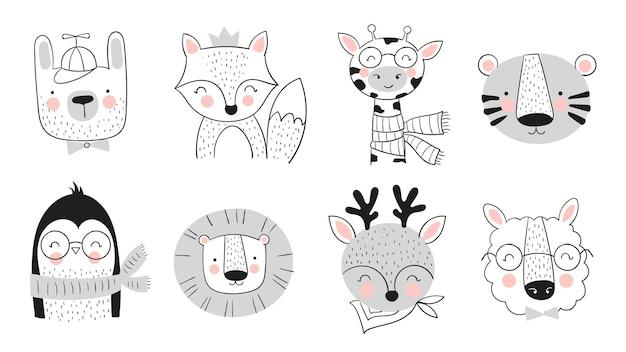 Collection vectorielle d'animaux mignons dessinés à la main. bannière avec des objets adorables isolés sur fond. saint valentin, anniversaire, réservez la date, baby shower, mariée, anniversaire, décoration
