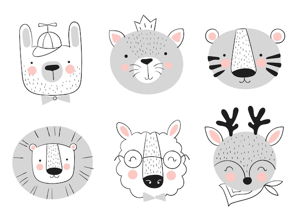 Collection vectorielle d'animaux mignons dessinés à la main bannière avec des objets adorables isolés sur fond