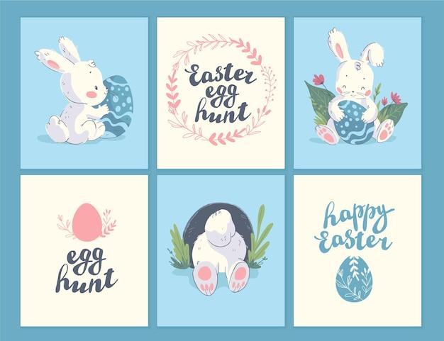 Collection vectorielle de cartes de félicitations pour les vacances de pâques, étiquettes, autocollants avec lettrage, mignon petit personnage de lapin avec des œufs de pâques isolés. style plat dessiné à la main. pour les cadeaux de vacances, la décoration, les bannières