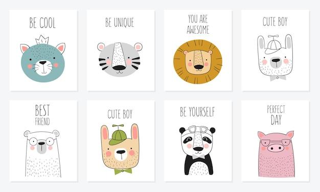 Collection vectorielle de cartes mignons animaux dessinés à la main et slogan. bannière avec des objets adorables sur fond. saint valentin, anniversaire, réservez la date, baby shower, mariée, anniversaire, décoration