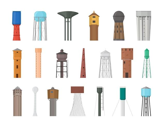 Collection vectorielle de châteaux d'eau.