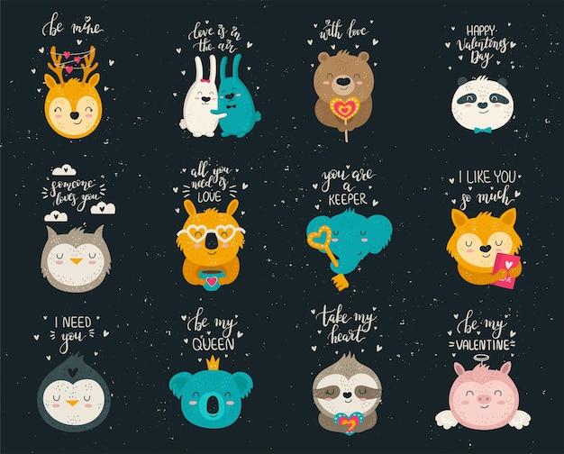 Collection vectorielle de dessin à la main d'animaux mignons et de jolis slogans. ensemble d'illustrations de griffonnage. saint valentin, anniversaire, baby shower, anniversaire, fête d'enfants