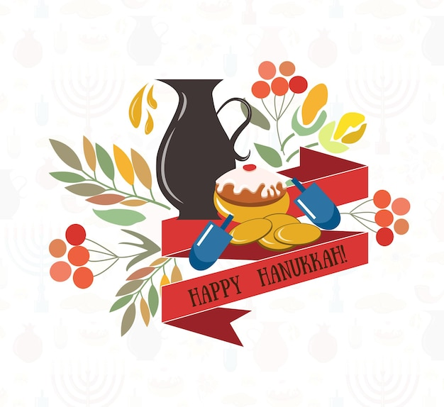 Collection vectorielle d'étiquettes et d'éléments pour l'affiche de hanukkah happy hanukkah avec des bougies de fleurs