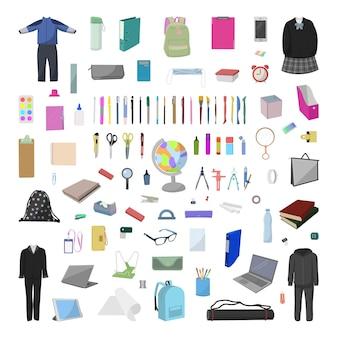 Collection vectorielle de fournitures scolaires réalistes détaillées