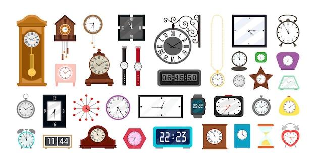 Collection vectorielle d'horloges dans un style plat.