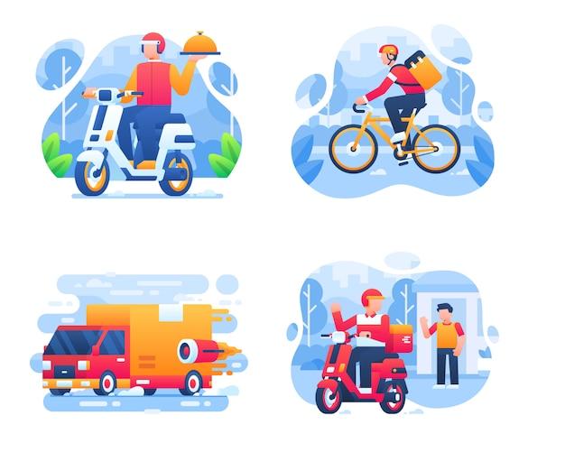 Collection de véhicules de service de livraison avec scooter, vélo, moto et camion