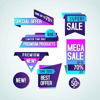 Collection de vente de bannière bleu violet