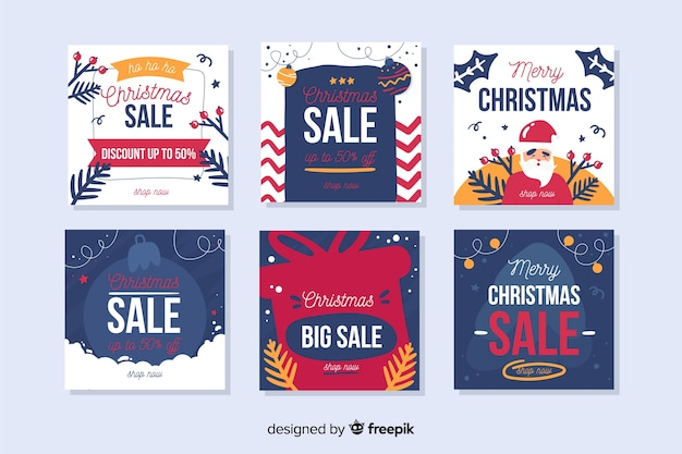 Collection de vente de noël instagram post