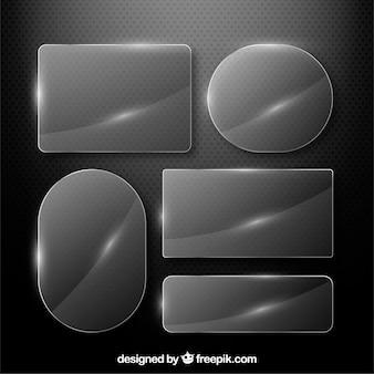 Collection de verre avec différentes formes