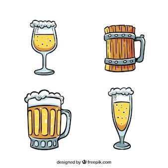 Collection de verre et de tasse de bière dessinés à la main