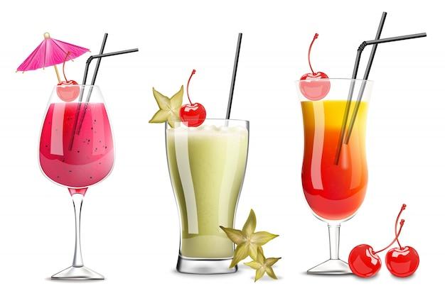 Collection de verres à cocktail tropic fruits