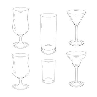 Collection de verres dessinés à la main pour cocktails et boissons. isolé sur blanc. noir et blanc.