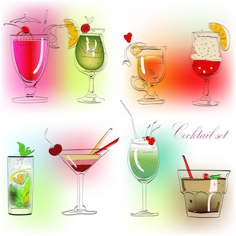 Collection de verres esquissés colorés de cocktail d'alcool mignon