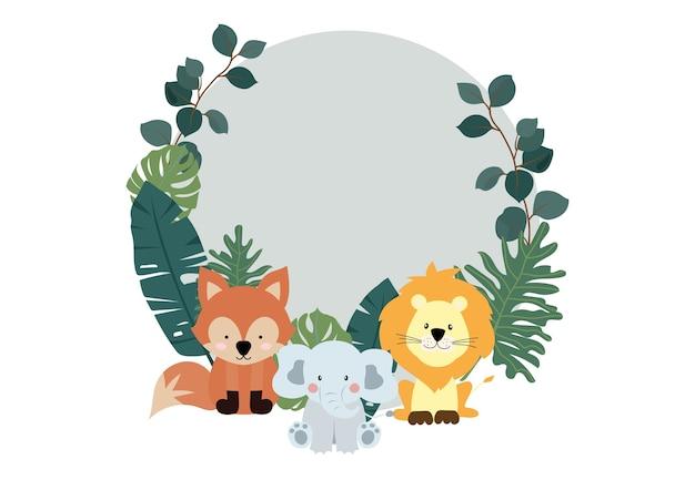 Collection verte de fond de safari sertie de zèbre, lion, éléphant.
