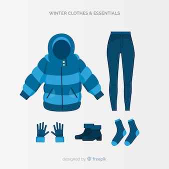 Collection de vêtements d'hiver et d'articles essentiels