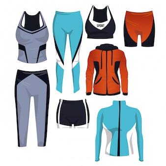 Collection de vêtements de sport sur le vecteur d'icônes carrés