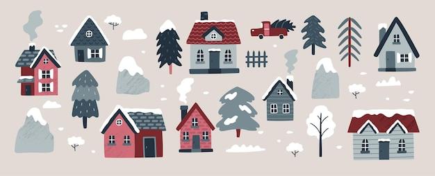 Collection de village d'hiver illustration vectorielle avec des maisons confortables épinettes arbres montagnes arbustes voiture