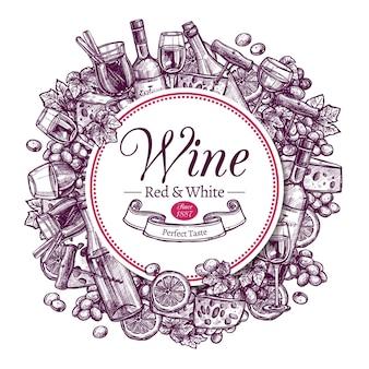 Collection de vin avec un exemple de texte décoré de croquis de gravure dessinée à la main