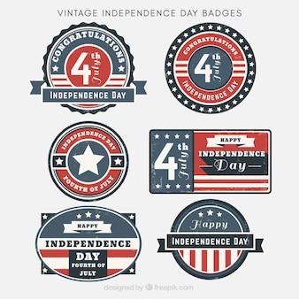 Collection vintage des badges du jour de l'indépendance des états-unis