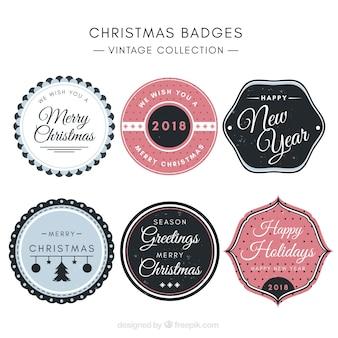 Collection vintage de badges de noël