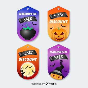 Collection vintage étiquette et badge plat halloween