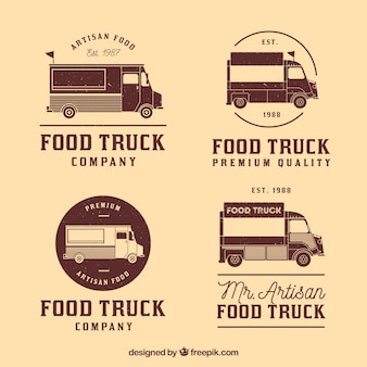 Collection vintage de logos de camions alimentaires