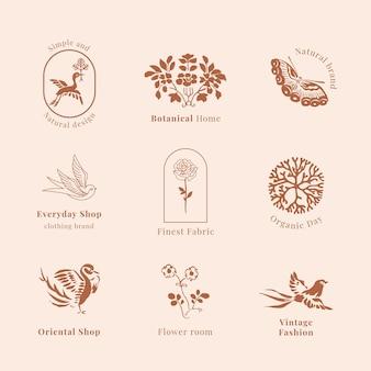 Collection vintage de modèle de logo de marque biologique