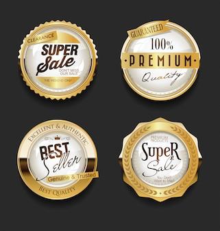Collection vintage rétro d'étiquettes de vente d'or