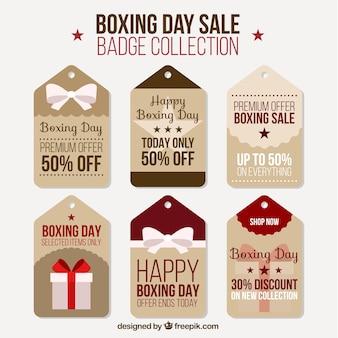 Collection vintage de vente des étiquettes pour le jour de la boxe