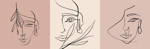 Collection de visage de femme de ligne abstraite.