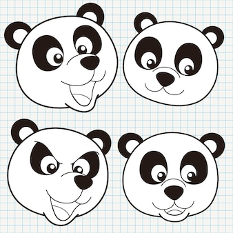 Collection de visage de panda mignon doodle