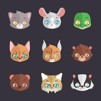Collection de visages d'animaux colorés plats