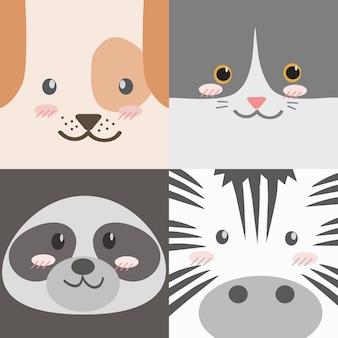 Collection de visages d'animaux de dessin animé mignon