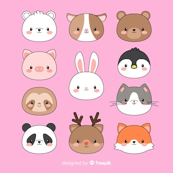 Collection de visages d'animaux kawaii dessinés à la main