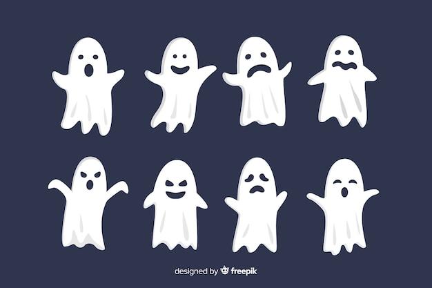 Collection de visages fantômes halloween plats