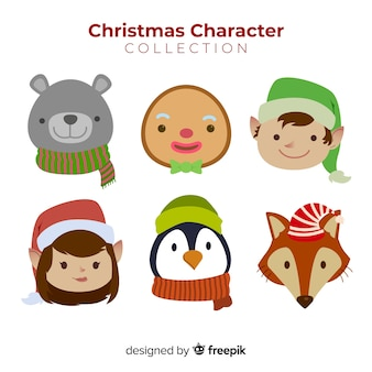 Collection de visages de personnage mignon de noël au design plat