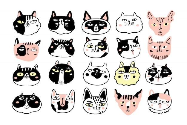 Collection de visages ou de têtes de chats amusants. paquet de divers museaux de chats de dessin animé isolés
