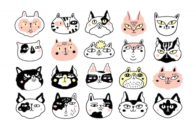 Collection de visages ou de têtes de chats amusants. paquet de divers museaux de chats de dessin animé isolés