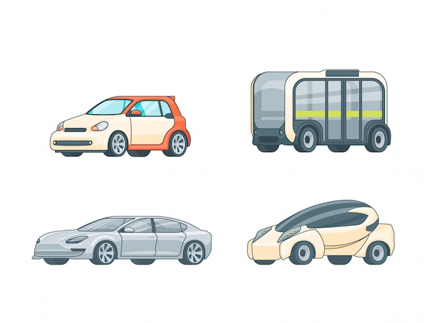 Collection de voitures électriques colorées