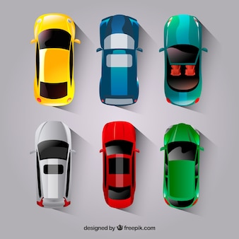 Collection de voitures plates avec cabriolet