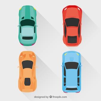 Collection de voitures plates avec des ombres