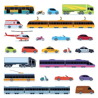 Collection de voitures. transport urbain des véhicules. voitures hélicoptère tram bus taxi police convertible scooter moto smart